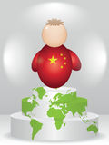 China buddy on podium. China buddy on global podium Stock Photo
