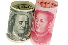 China Business yuan and the dollar stock photos