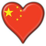 China button flag heart shape. China button flag 3d made Stock Images