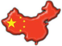 China button flag map shape. China button flag 3d made Stock Image