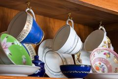 China Cabinet full of Cups Stock Photos