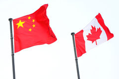 China & Canada Flags. China Flag and Canada Flag Royalty Free Stock Photography