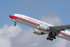 China Cargo Boeing 777. China Cargo jet Boeing 777 shown departing the Los Angeles International Airport LAX to Shanghai PVG on March 14, 2018 Royalty Free Stock Photo