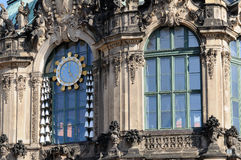 China carillon at zwinger, dresden. China carillon on a facade of a famous palace and  museum  in dresden, the building has been  rebuilt after second world war Stock Image