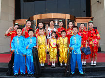 China:Children and teachers posed for pictures Royalty Free Stock Image