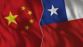 China and Chile Half Flags Together vector illustration