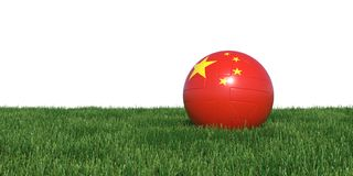 China Chinese flag soccer ball lying in grass world cup 2018. Isolated on white background. 3D Rendering, Illustration Royalty Free Stock Images