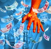 China Chinese Money Business Chess Strategy Tariffs. A conceptual photo illustration exploring the rise of China and the economic power it now has. China now royalty free stock image