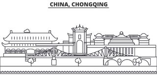 China, Chongqing architecture line skyline illustration. Linear vector cityscape with famous landmarks, city sights stock illustration