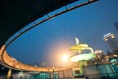 China city center square night stock photos