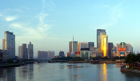 China city of Ningbo. Bordering the East-China Sea, ningbo is located in the middle part of China's mainland coastline and in the south of Yangtze River delta Royalty Free Stock Photos