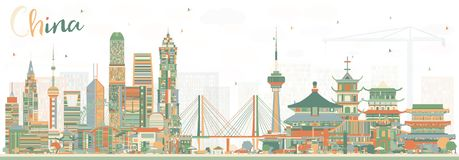 China City Skyline. Famous Landmarks in China. Vector Illustration. vector illustration
