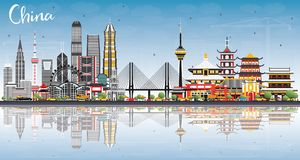 China City Skyline with Reflections. Famous Landmarks in China. Vector Illustration. Business Travel and Tourism Concept. Image for Presentation, Banner vector illustration
