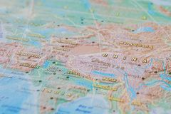 China in close up on the map. Focus on the name of country. Vignetting effect.  royalty free stock photography