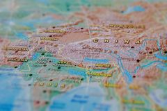China in close up on the map. Focus on the name of country. Vignetting effect.  royalty free stock image