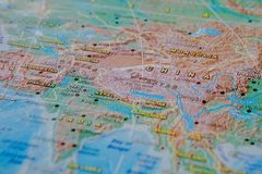 China in close up on the map. Focus on the name of country. Vignetting effect.  stock images