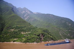 China coal transport on Yangtze river Royalty Free Stock Image