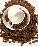 China coffee cup on roasted beans Royalty Free Stock Photo