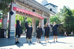 China college Graduation picture 2. Happy students in their graduation take picture royalty free stock photo