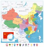 China Colored Map and Flat Pin Icons vector illustration