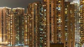 China compleja de vida del lapso de tiempo del panorama 4k de los edificios de Macao de la iluminación de la noche metrajes