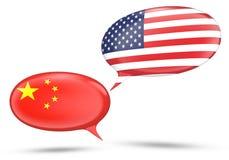 China - conceito das relações do Estados Unidos com bolhas do discurso Fotos de Stock Royalty Free