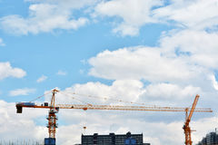 China construction site. High building construction site against beautiful dusky sky  china for construction business and land ,real estate ,civil development Royalty Free Stock Images