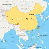 China, controlled and claimed regions, political map. Peoples Republic of China, PRC, political map. Area controlled by China in yellow, and claimed but Royalty Free Stock Photos