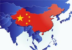 China country map with flag Stock Images