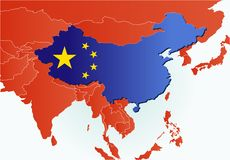 China country map with flag. China map in southeast Asia Royalty Free Illustration