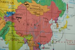 China country on paper map. Close up view royalty free stock photo