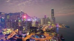 China crepuscular del lapso de tiempo del panorama 4k del tejado de la bahía de Hong-Kong de la puesta del sol metrajes