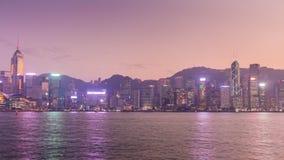 China crepuscular famosa del lapso de tiempo del panorama 4k de la isla de Hong-Kong Kowloon de la puesta del sol almacen de metraje de vídeo