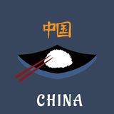 China cuisine symbol with rice and chopsticks Royalty Free Stock Photography