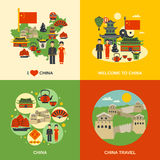 China Culture 4 Flat Icons Square Royalty Free Stock Photos