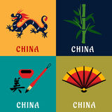 China culture and tradition flat icons Royalty Free Stock Images