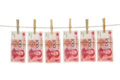 China Currency on Clothesline Stock Photo