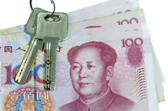 The china currency with two key Stock Photo