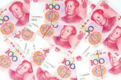 China Currency in white background Royalty Free Stock Photos