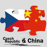 China and Czech Republic flags in puzzle Royalty Free Stock Image