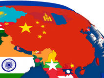 China on 3D map with flags Stock Photos