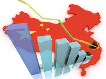 China 3d map stock markets down Royalty Free Stock Photography