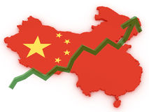 China 3d map stock markets up. China stock markets raise and gain money Stock Image