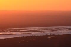 China de la puesta del sol del río Amarillo imagen de archivo libre de regalías