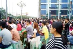 China de Shenzhen: actividad al aire libre del canto de la música Imagenes de archivo