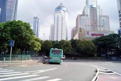 China de Shenzhen: construcción y camino de la ciudad Foto de archivo