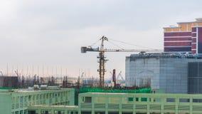 China del lapso de tiempo del panorama 4k de la construcción del centro de Macao del cielo de la puesta del sol almacen de metraje de vídeo