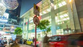 China del lapso de tiempo del panorama 4k de la opinión de la calle del tráfico de la noche de Hong-Kong que camina metrajes