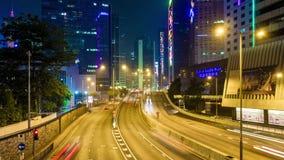 China del lapso de tiempo del panorama 4k del puente de la opinión de la calle del camino del tráfico de la noche de Hong-Kong metrajes