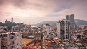 China del lapso de tiempo del panorama 4k del scape del tejado de Macao del día soleado almacen de metraje de vídeo